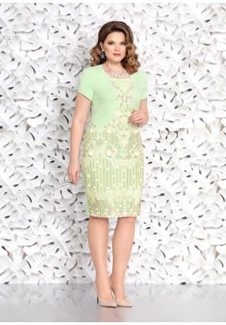 796eb06c84e26c9 4641-2 Элегантное платье прилегающего силуэта с эффектной аппликацией из  кружева по переду платья. Платье с втачным коротким рукавом.